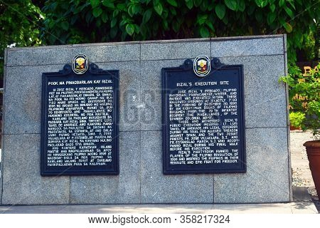 Manila, Ph - July 6: Execution Site Marker At Rizal Park On July 6, 2016 In Manila, Philippines.