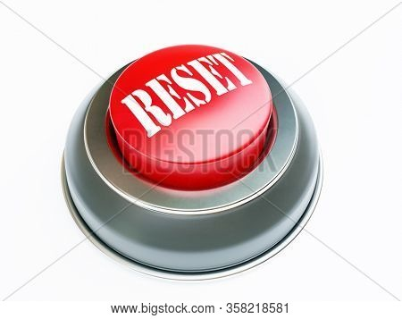 3D render of push button with red upper face and white Reset text on white background