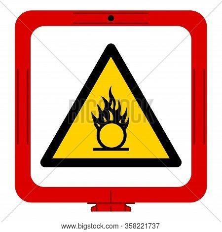 Warning Oxidizing Substance Symbol ,vector Illustration, Isolate On White Background Label. Eps10