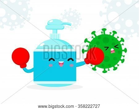 Alcohol Gel Cute Character. Hand Wash Gel Fight With Coronavirus (2019-ncov), Alcohol Gel Attack Cov