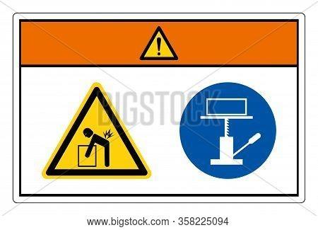 Warning Lift Hazard Use Mechanical Lift Symbol Sign, Vector Illustration, Isolate On White Backgroun