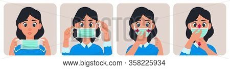 Woman With Medical Mask. Virus Protection Concept, Young Female Is Wearing Mask From Air Pollution V
