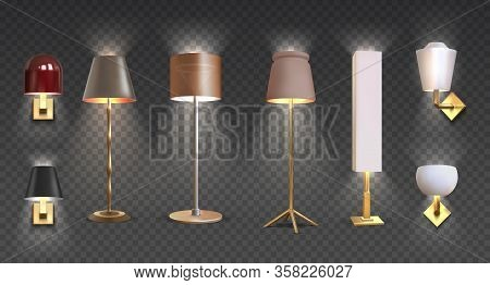 Realistic Floor Lamp. 3d Closeup Render Of Modern Electric Torchere With Light Isolated On Transpare
