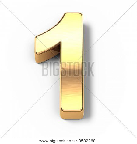 3d Gold metal numbers - number 1