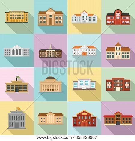 University Icons Set. Flat Set Of University Vector Icons For Web Design