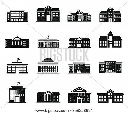 University Building Icons Set. Simple Set Of University Building Vector Icons For Web Design On Whit