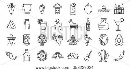 Mexico Fiesta Icons Set. Outline Set Of Mexico Fiesta Vector Icons For Web Design Isolated On White