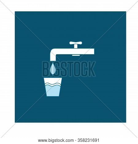 Drinking Water Icon. Illustration Silhouette White Tap In Blue Square. Sign Drinkable Aqua On White
