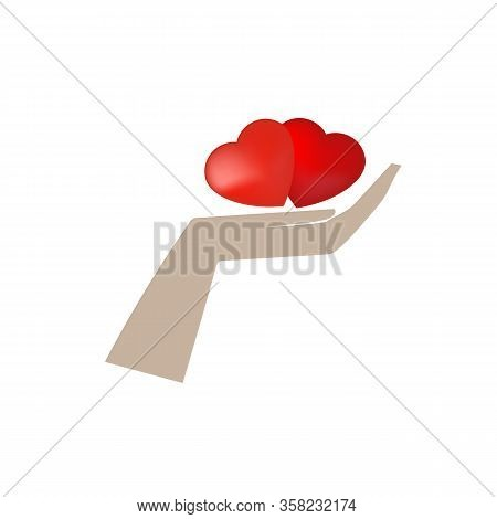 Hearts On Palm. Symbol Protect, Healthy Care, Peace, Love, Friendship. Colorful Design Element. Vect