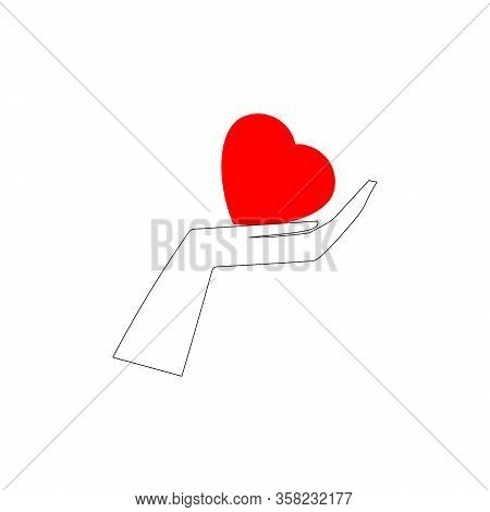 Heart On Palm. Symbol Protect, Healthy Care, Peace, Love, Friendship. Colorful Design Element. Vecto