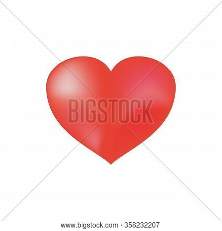 Heart Isolated. Red Sign On White Background. Romantic Silhouette Symbol Love, Passion And Wedding.