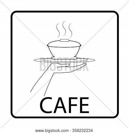 Logo For Cafe Thin Flat Linear Silhouette In Square With Inscription Cafe On White Background Design