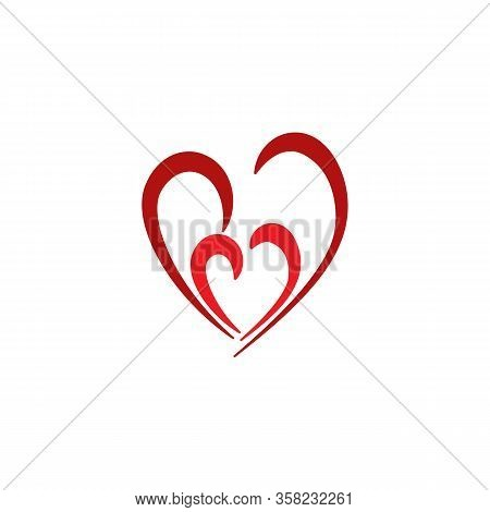 Heart Two Color Sign On White Background. Romantic Symbol Love, Passion And Wedding. Template For T