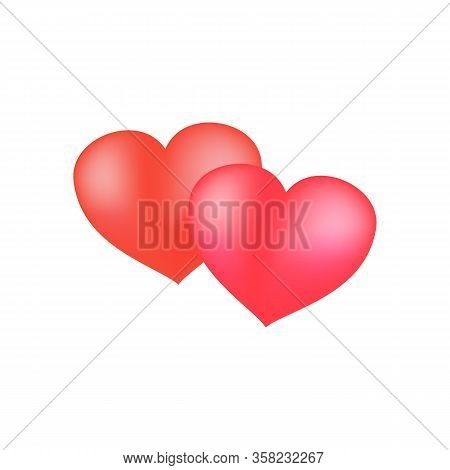 Hearts Two Color Sign On White Background. Romantic Silhouette Symbol Love, Passion And Wedding. Col