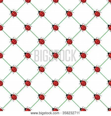 Ladybug In Square Seamless Pattern. Fashion Graphic Background Design. Modern Stylish Abstract Textu