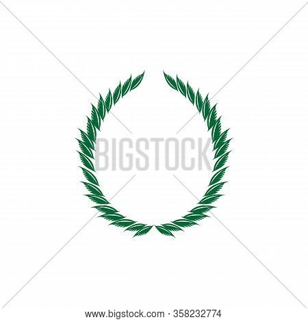 Laurel Wreath Olive Reward. Modern Symbol Of Victory And Award Achievement Champion. Leaf Ceremony A