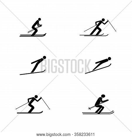 Sports Skiing. Place For Safety Jumping. Sign Security In Descent, Slope, Snow For At International