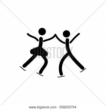 Sports. Figureskating. Two Silhouette Skate. Logo Sports Dance On Ice. Monochrome Template For Poste