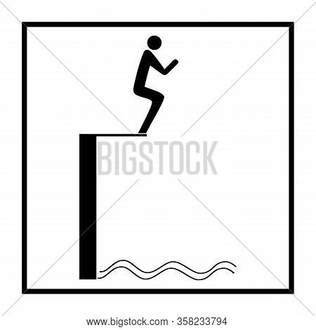Sports. Ski Jumping In Water Silhouette. Safety Dive. Sign Safeness On Beach, In River, Sea, Etc. Wa