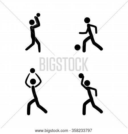 Sports. Basketball Player, Football Set Silhouette. Sign Sports Team, Professional Sport. Logo Play