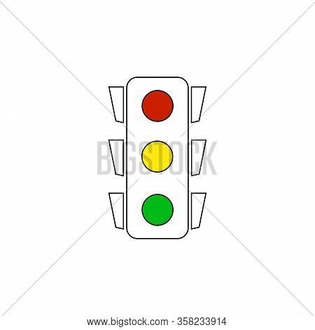 Stoplight Silhouette. Icon Traffic Light On White Background. Symbol Regulate Movement Safety And Wa