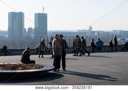 Belgrade / Serbia-13.2.2020. People Enjoying Sunny Day In Belgrade. Coronavirus Isolation People Out