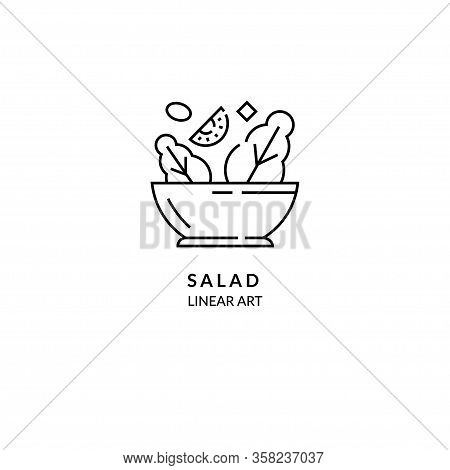 Salad In Plate. Vector Linear Style Icon