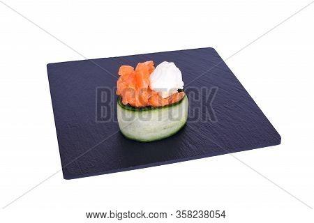 Traditional Fresh Japanese Sushi On Black Stone Gunkan Syake Green On A White Background. Gunkan Ing
