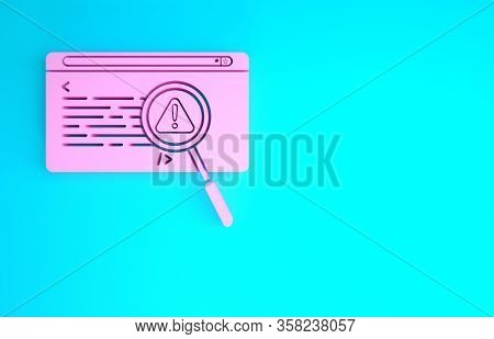 Pink System Bug Concept Icon Isolated On Blue Background. Code Bug Concept. Bug In The System. Bug S