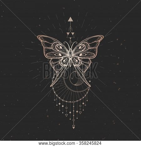 Vector Illustration With Hand Drawn Butterfly And Sacred Geometric Symbol On Black Vintage Backgroun