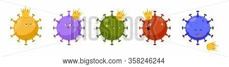 Cartoon Illustrations Of The Character Coronavirus. A Sly, Angry, Discontented, And Dead Virus. Covi