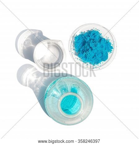 Close Up Inorganic Chemical On White Laboratory Table. Copper(ii) Sulfate,  Alcohol. Chemical Ingred