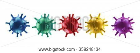 Set Virus Cells. Coronavirus Concept Background. 2019-ncov, Virus Covid 19-ncp. Vector Illustration