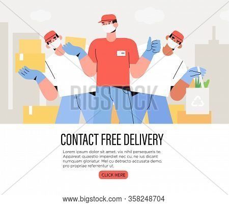 Couriers Holding Package In Medical Mask And Gloves. Concept Of Contactless Or To The Door Delivery.