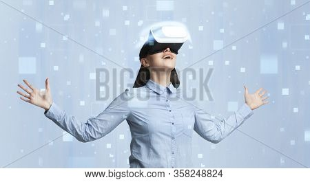 Excited Businesswoman Enjoying Her Vr Experience On Color Background With Pixels, Collage. Panorama