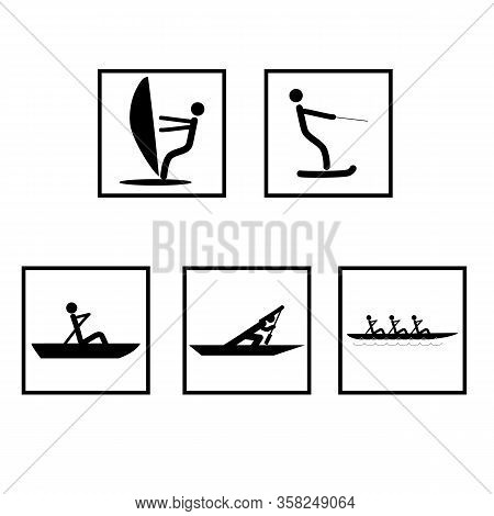 Water Sports Set Icons. Logos Extreme Sports And Recreation In Water. Monochrome Template For Poster