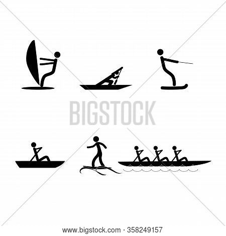 Water Sports Icons. Logos Extreme Sports And Recreation In Water. Monochrome Template For Poster, Lo