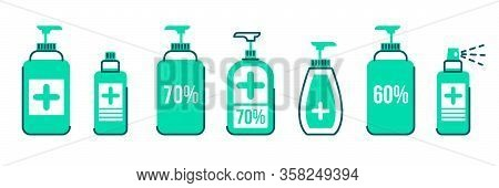 Set Of Antiseptic Line Color Icon Hygiene Virus Hand Care. Washing Hands, Anti Bacterial Soap, Use S