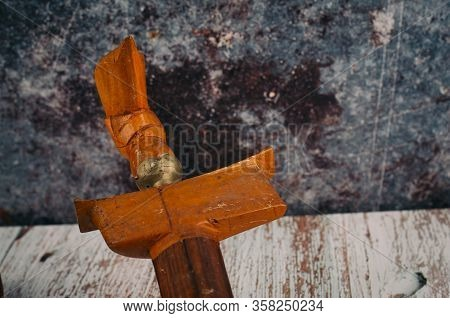 Traditional Dagger Called Keris On Wooden Background, Keris  Is Unique Icon Among Malay Ethnic Cultu