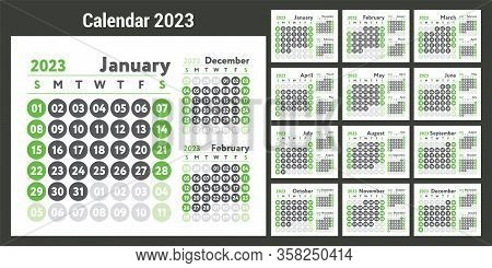 2023 Calendar. New Year Planner Design. English Calender. Green Color Vector Template. Week Starts O