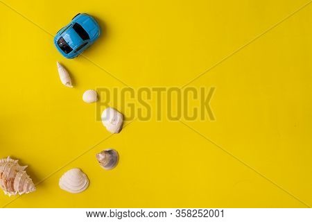 Concept Of Travel In Summer, Copy Space On Yellow Background With Shellfish, View From Above Table.