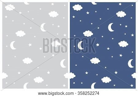 Cute Night Sky Seamless Vctor Patterns. White Moons, Stars And Fluffy Clouds On A Light Gray And Dar