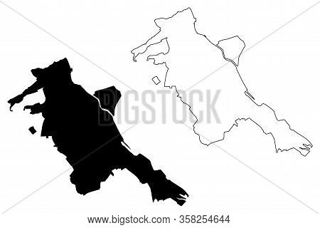 Pitesti City (republic Of Romania, Arges County) Map Vector Illustration, Scribble Sketch City Of Pi
