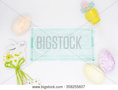 Flowers, Easter Egg, Covid, Flat Lay, Greeting, Card, Copy Space, Wishing Well, Recovery, Wish, Get
