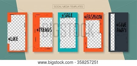 Modern Stories Vector Background. Tech Sale, New Arrivals Story Layout. Blogger Trendy Design, Socia