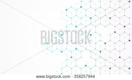 Hexagons Abstract Background With Geometric Shapes. Science, Technology And Medical Concept. Futuris