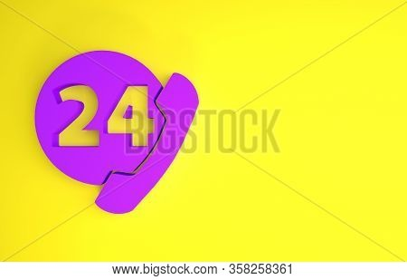Purple Telephone 24 Hours Support Icon Isolated On Yellow Background. All-day Customer Support Call-