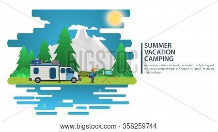 Sunny Day Landscape, Illustration In Flat Cartoon Style, People Came By Car To The Camp Site, Mounta