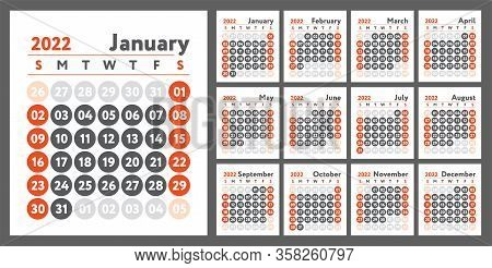 2022 Calendar. New Year Planner Design. English Calender. Red Color Vector Template. Week Starts On