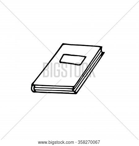 Book Single Element Hand Drawn In Doodle Scandinavian Minimalism Monochrome Style. Icon, Sticker, Te